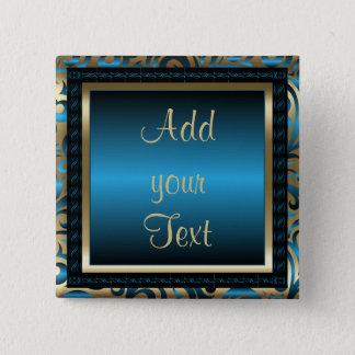 Bóton Quadrado 5.08cm Azul do texto   da festa de aniversário   DIY
