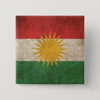 Bóton Quadrado 5.08cm Bandeira afligida vintage do Curdistão