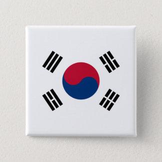 Bóton Quadrado 5.08cm Bandeira de Coreia do Sul