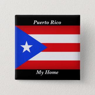 Bóton Quadrado 5.08cm Bandeira de Puerto Rico