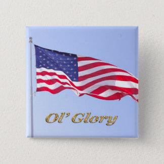 Bóton Quadrado 5.08cm bandeira de u s, glória do ol