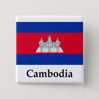 Bóton Quadrado 5.08cm Bandeira e nome de Cambodia