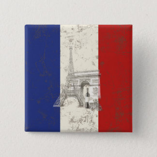 Bóton Quadrado 5.08cm Bandeira e símbolos de France ID156