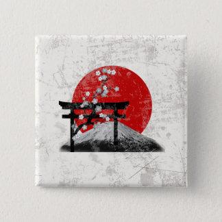 Bóton Quadrado 5.08cm Bandeira e símbolos de Japão ID153