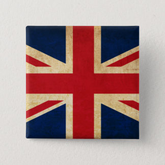 Bóton Quadrado 5.08cm Bandeira velha Union Jack de Reino Unido do Grunge