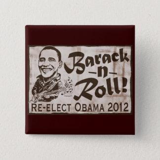 Bóton Quadrado 5.08cm Barack e engrenagem de Obama 2012 do rolo