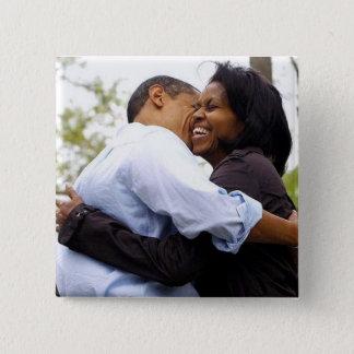 Bóton Quadrado 5.08cm Barack & Michelle Obama