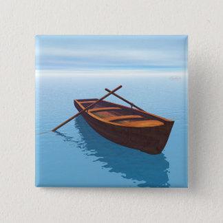 Bóton Quadrado 5.08cm Barco de madeira - 3D rendem