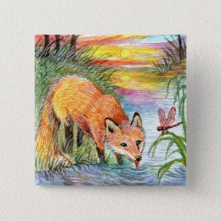 Bóton Quadrado 5.08cm Bebendo do Fox pelo beira-rio