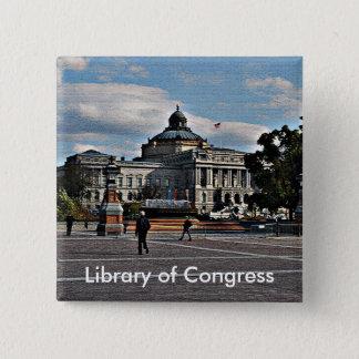 Bóton Quadrado 5.08cm Biblioteca do Congresso no teste padrão de mosaico
