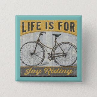 Bóton Quadrado 5.08cm Bicicleta do vintage com citações