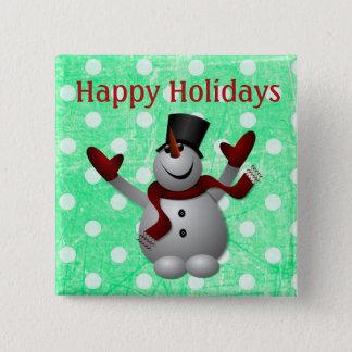 Bóton Quadrado 5.08cm Boas festas botão do Natal do boneco de neve