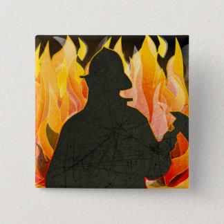 Bóton Quadrado 5.08cm Bombeiros, Firewomen, botões do sapador-bombeiro
