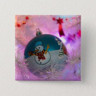 Bóton Quadrado 5.08cm Boneco de neve - bolas do Natal - Feliz Natal