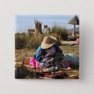 Bóton Quadrado 5.08cm Bordado Sewing da mulher de Peru