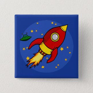 Bóton Quadrado 5.08cm Botão amarelo vermelho de Rocket