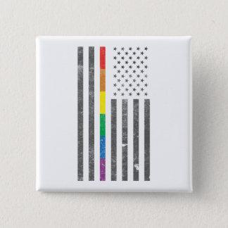 Bóton Quadrado 5.08cm Botão americano do quadrado da bandeira do orgulho