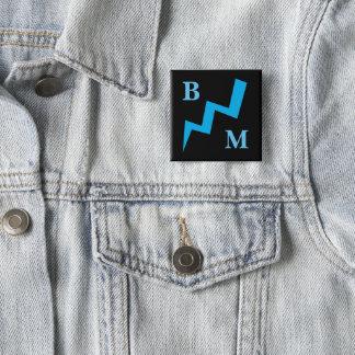 Bóton Quadrado 5.08cm Botão azul da greve do relâmpago do melhor homem