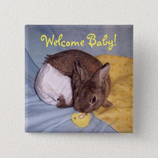 Bóton Quadrado 5.08cm Botão bem-vindo do coelho do bebê