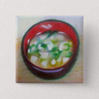 Bóton Quadrado 5.08cm botão bling do garçom da sopa de miso