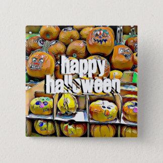Bóton Quadrado 5.08cm Botão bonito feliz do suporte da abóbora do Dia