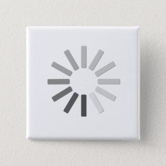 Bóton Quadrado 5.08cm botão cinzento do símbolo da carga do computador