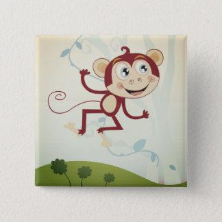 Bóton Quadrado 5.08cm Botão com macaco: desenho original