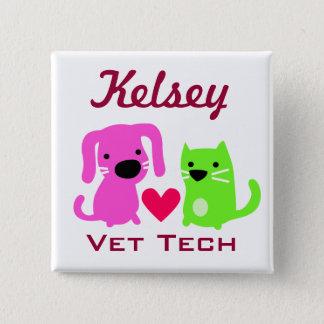 Bóton Quadrado 5.08cm Botão customizável da tecnologia do veterinário