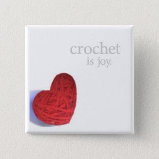 Bóton Quadrado 5.08cm botão da alegria do crochet