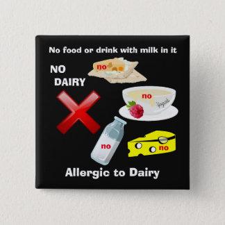 Bóton Quadrado 5.08cm Botão da alergia da leiteria para alergias de