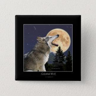 Bóton Quadrado 5.08cm Botão da arte dos animais selvagens do lobo & da