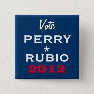 Bóton Quadrado 5.08cm Botão da campanha de PERRY/RUBIO 2012 (quadrado)