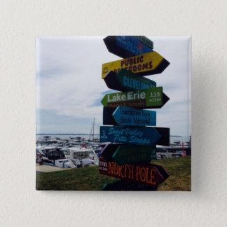 Bóton Quadrado 5.08cm Botão da foto do sinal da ilha de Kelley, Ohio