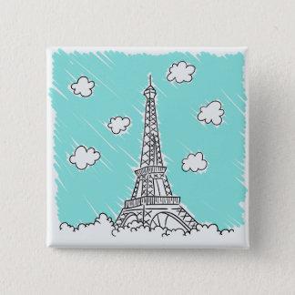 Bóton Quadrado 5.08cm Botão da ilustração da torre Eiffel