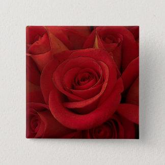 Bóton Quadrado 5.08cm Botão das rosas vermelhas