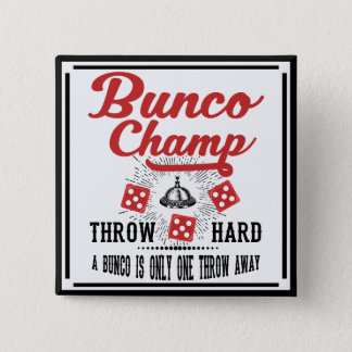 Bóton Quadrado 5.08cm Botão de Bunco - campeão de Bunco