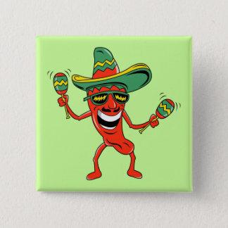 Bóton Quadrado 5.08cm Botão de Cinco de Mayo da pimenta da dança
