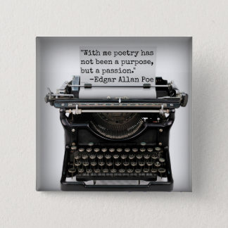 Bóton Quadrado 5.08cm Botão de Edgar Allan Poe