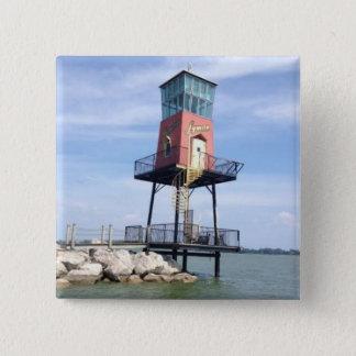 Bóton Quadrado 5.08cm Botão de madeira da foto do sinal do barco