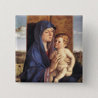 Bóton Quadrado 5.08cm Botão de Madonna e da criança