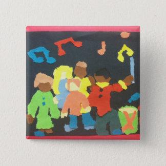 Bóton Quadrado 5.08cm Botão de papel da colagem dos estudantes da música