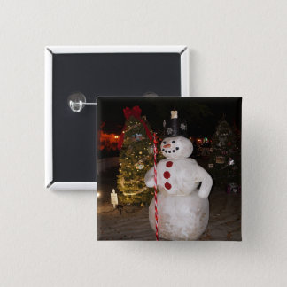 Bóton Quadrado 5.08cm Botão de Pinback da árvore do boneco de neve & de