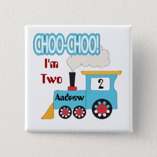 Bóton Quadrado 5.08cm Botão do aniversário do trem de Choo Choo