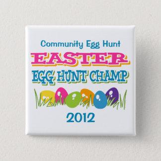 Bóton Quadrado 5.08cm Botão do campeão da caça do ovo da páscoa
