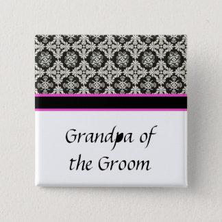 Bóton Quadrado 5.08cm botão do casamento, damasco preto