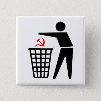 Bóton Quadrado 5.08cm Botão do comunismo do lixo