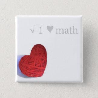 Bóton Quadrado 5.08cm botão do coração da raiz quadrada