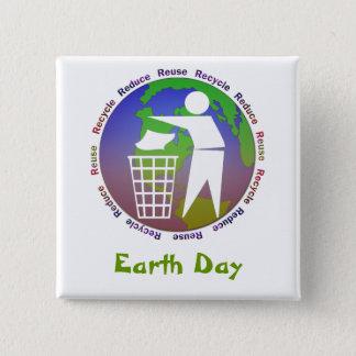 Bóton Quadrado 5.08cm Botão do Dia da Terra