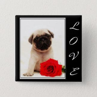 Bóton Quadrado 5.08cm Botão do filhote de cachorro do Pug do amor