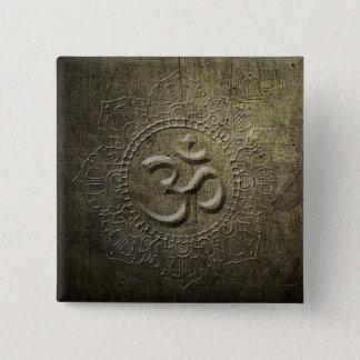Bóton Quadrado 5.08cm Botão do metal do bronze da mandala do símbolo de